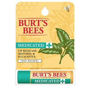 BURT-039-S-BEES-MEDICATED-100-Natural-Beeswax-Lip-Balm-MENTHOL-EUCALYPTUS-NEW