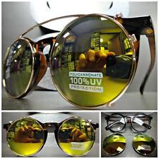 VINTAGE 60s RETRO Style Clear Lens CLIP ON SUN GLASSES Round Tortoise Gold Frame