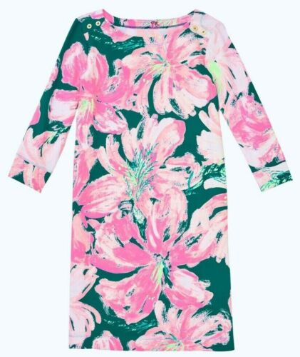 NEW Lilly Pulitzer GIRLS MINI SOPHIE DRESS Tidal Wave Pans Garden Pink Teal L XL
