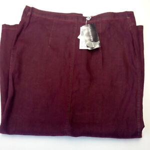 Woman-skirt-size-GB-16-F-Linen-100-purple-Elena-Miro-brand-RRP-110