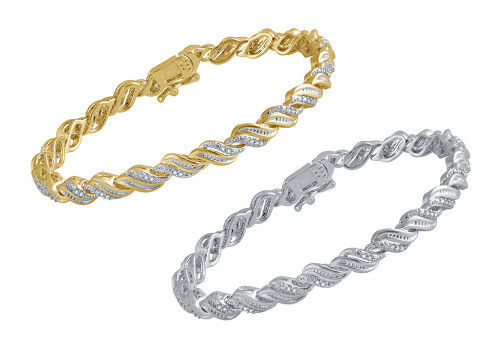 1/4ct TDW Natural Diamond Wave Tennis Bracelet in Gold or Silver Plated Brass