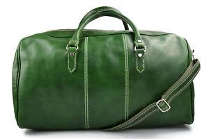 Borsone-uomo-donna-borsa-viaggio-con-manici-e-tracolla-vera-pelle-verde