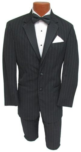 Men/'s Black Ralph Lauren Pinstriped Tuxedo Jacket with Pants Wedding Prom 41R
