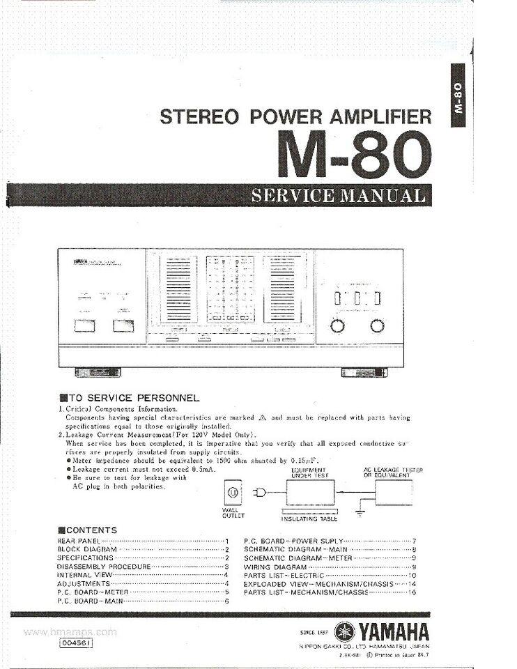 Effektforstærker, Yamaha, M 80