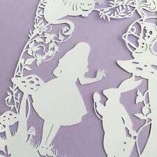 Handmade Disney Alice In Wonderland Paper Cut Framed - Cheshire Cat/White Rabbit
