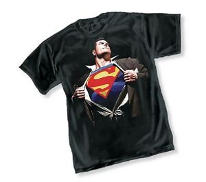DC-SUPERMAN-FOREVER-BY-ALEX-ROSS-BLACK-ADULT-Licensed-T-Shirt-S-2XL