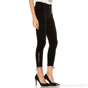 2499d054171 NWT Hudson Nix High Rise Velvet Skinny Crop Lace Up Jean in Black ...