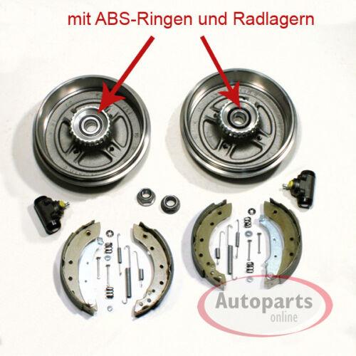 Bremstrommel Bremsbacken Set ABS Ringe Radlager Zubehör hinten Renault Megane
