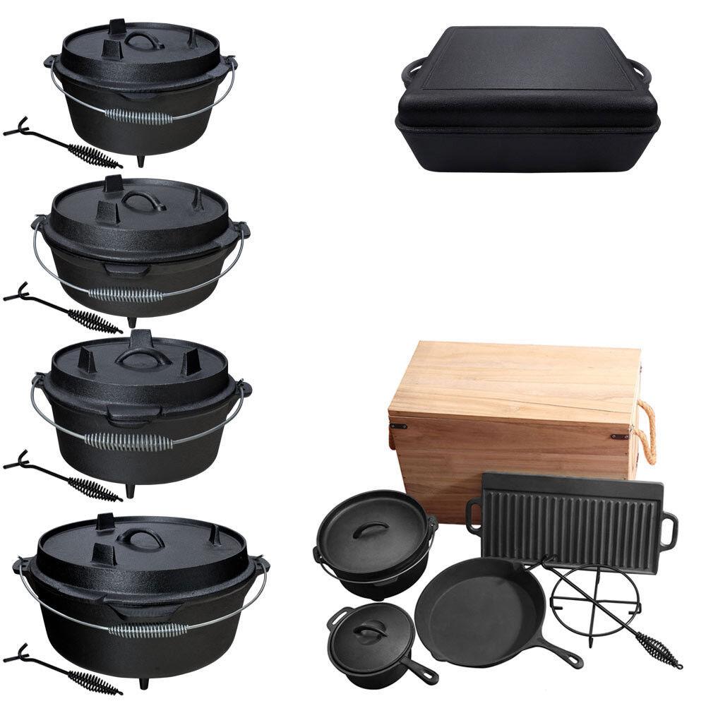 Hierro fundido Dutch Oven fuego olla de cocción olla olla parrilla fuego de campamento tamaños selección set