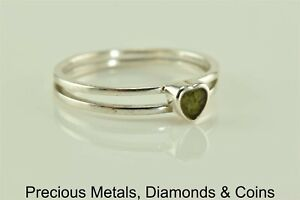 Sterling-Silver-Double-Band-Crushed-Green-Turquoise-Heart-Ring-925-Sz-10