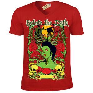 Before-the-dark-T-Shirt-vampire-gothic-skull-Mens-V-Neck
