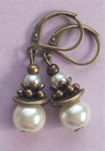 GLASS PEARL wavy DROPS Lever back BRONZE handcrafted YOU CHOOSE