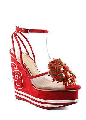NEW CHARLOTTE OLYMPIA Cherry Red Suede Team Spirit Wedges Sz 36.5 6.5 $1295