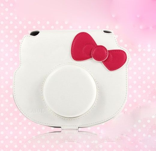 Leather Camera Case Bag For Fujifilm Polaroid instax mini Hello Kitty 40th White