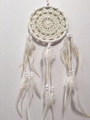 SWEET CROCHET DREAM CATCHER 12 CM MAIN WEB BOHO WHITE IVORY 41 CM TOTAL LENGTH