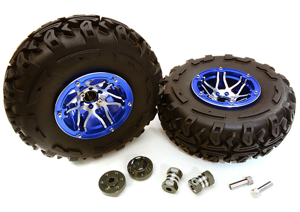 C27040blueE 2.2x1.75-in. High Mass Wheel Tires 14mm Off Off Off Hubs for 1 10 Crawler 82daeb
