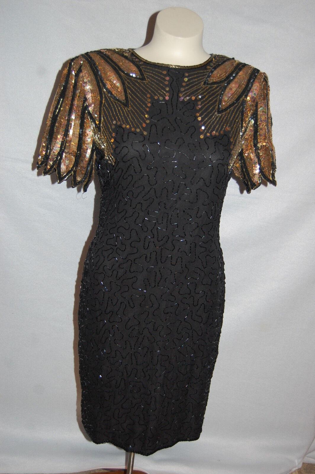 d85b1ec9b9 Womens Black Gold Beaded Sequin Dress Vintage 80s Stenay Party ...