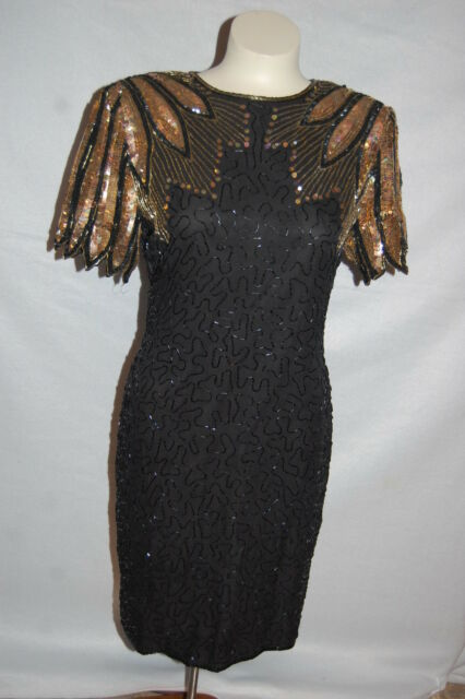 Womens Black Gold Beaded Sequin Dress Vintage 80s Stenay Party Tail 8 Pee