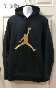 236d02e7ca64d9 Nike Jordan X OVO Drake Black Gold Sweatshirt Fleece Hoodie 826737 ...