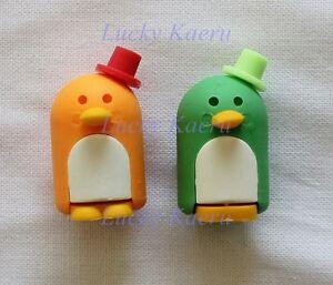 Zens Japanese Eraser Pair Penguins Penguin Orange Green