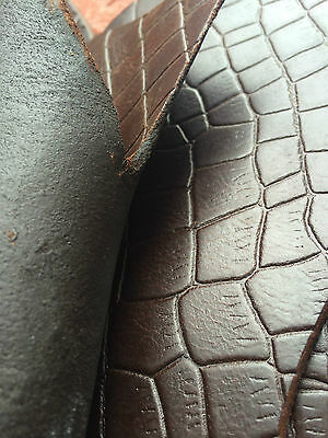 LEATHER COW HIDE SHEET CROCODILE EMBOSSED THICK RIGID LARP LEATHER