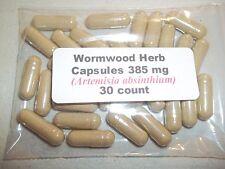 Wormwood Herb Powder Capsules (Artemisia absinthium) 385 mg.  30 count