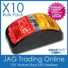 10 x 12V SUPERFLUX LED AMBER/RED SIDE MARKER LAMPS/LIGHTS - Boat/Trailer/Caravan