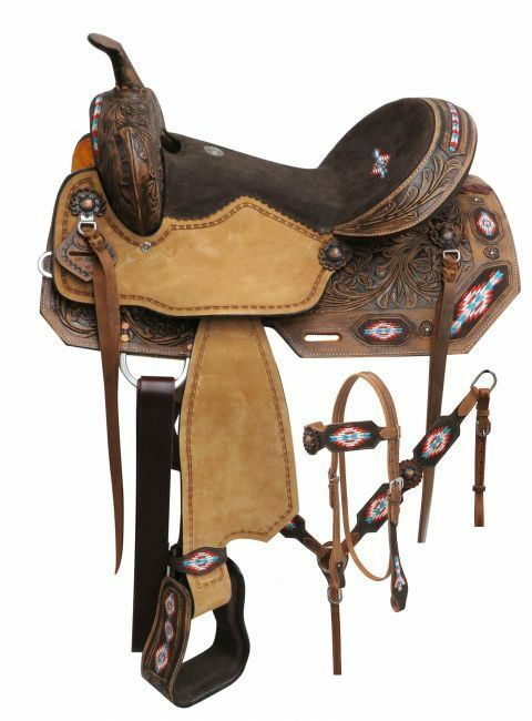 Double T Embroidered Navajo saddle set 14 , 15 , 16