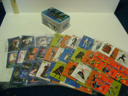 2008 STAR WARS CLONE WARS TRADING CARDS LOT (76 STICKERS / CARDS) & TIN BOX