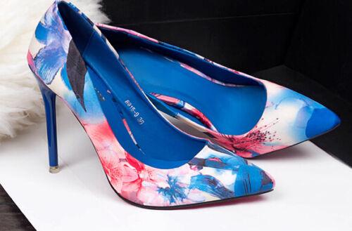 Mode Schuhe Stilett Blumenmuster 10 Cm Décollte Ferse Frauensandalen Blau Pumps fq0dx01Rw