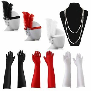 Womens Flapper Accessory 3 PC Set Charleston Gatsby Fancy Dress Costume 20/'s Hen