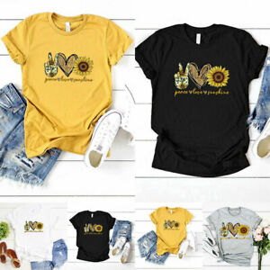 Women-T-shirt-Sunflower-Print-Summer-Short-Sleeve-Tops-Cotton-Blend-Tops-Tees