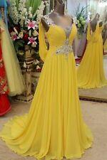 Gelb Brauch Ballkleider Brautkleid Abendkleid Hochzeitskleid chiffon Party Prom