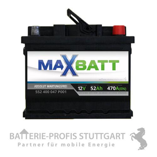 MaxBatt Autobatterie 12V 52Ah 470A ersetzt 44Ah 45Ah 50Ah