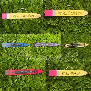 Details About Personalized Wooden Teacher Pencil And Crayons Teacher Appreciation Gift
