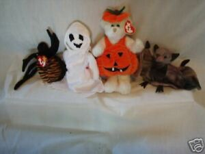 Ty Beanie Babies Halloween Lot of 4 Batty Sheets Carver