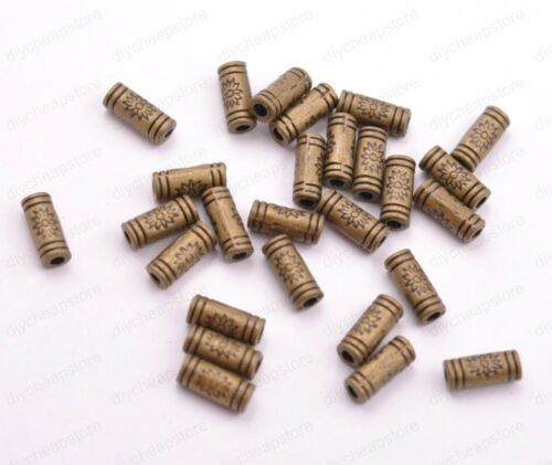 100Pcs argent antique//or//Bronze Charm Tube Spacer Beads 9 mm JK3032