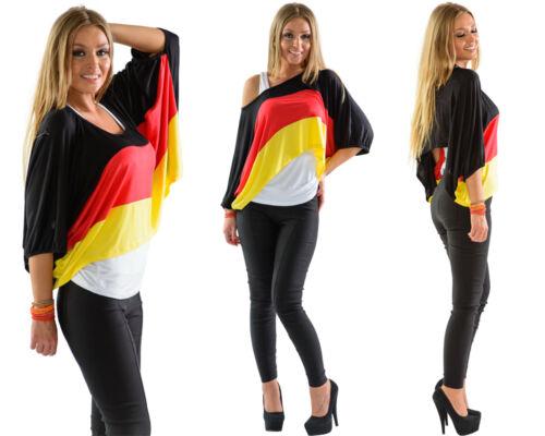 Damen Deutschland 2-Teiler Fan Shirt Top Flerdemaus Ärmel Träger Tanktop
