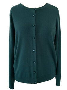 M-amp-S-Classic-Jade-Green-Cardigan-Soft-Knit-Button-Up-Preppy-Stretchy-Boho-Size-16