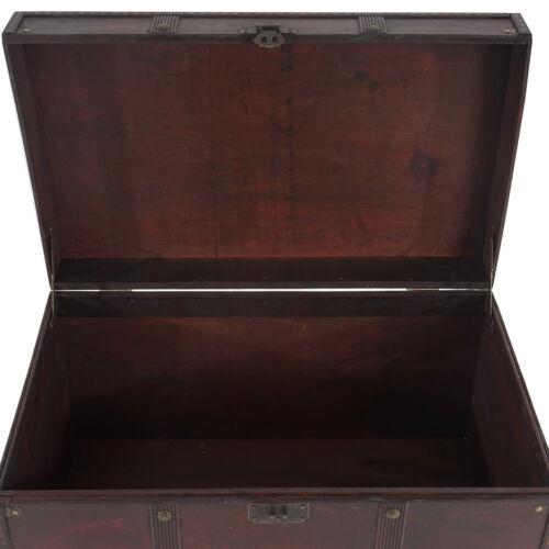 2er Set Holztruhe Holzbox Schatztruhe Antibes Antikoptik 13x29x14cm eckig