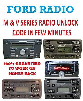 Mondeo Transit Fiesta Focus Ford Radio Unlock Code M /& V Serial Escort
