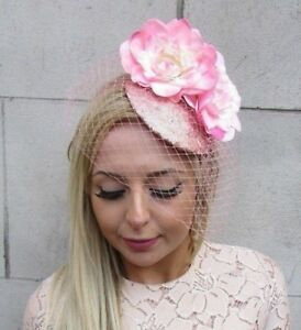 a3494770e8c9e Blush Pink Rose Gold Flower Birdcage Veil Flower Hair Fascinator ...