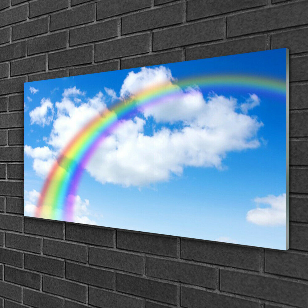 Print on Glass Wall art 100x50 Picture Image Rainbow Nature