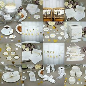 Image Is Loading Scripted White Marble Wedding Party Supplies Favours Tableware