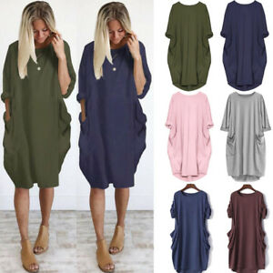 Women-039-s-Casual-Shirt-Mini-Dress-Ladies-Solid-Long-Sleeve-Loose-Tunic-Tops-Blouse