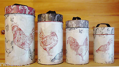 Chickens Food Safe Tin Canister Set rustic french country kitchen rooster decor