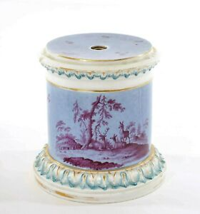 Antique German Porcelain Pedestal Stand Base with Insect Bug Stag Deer Group