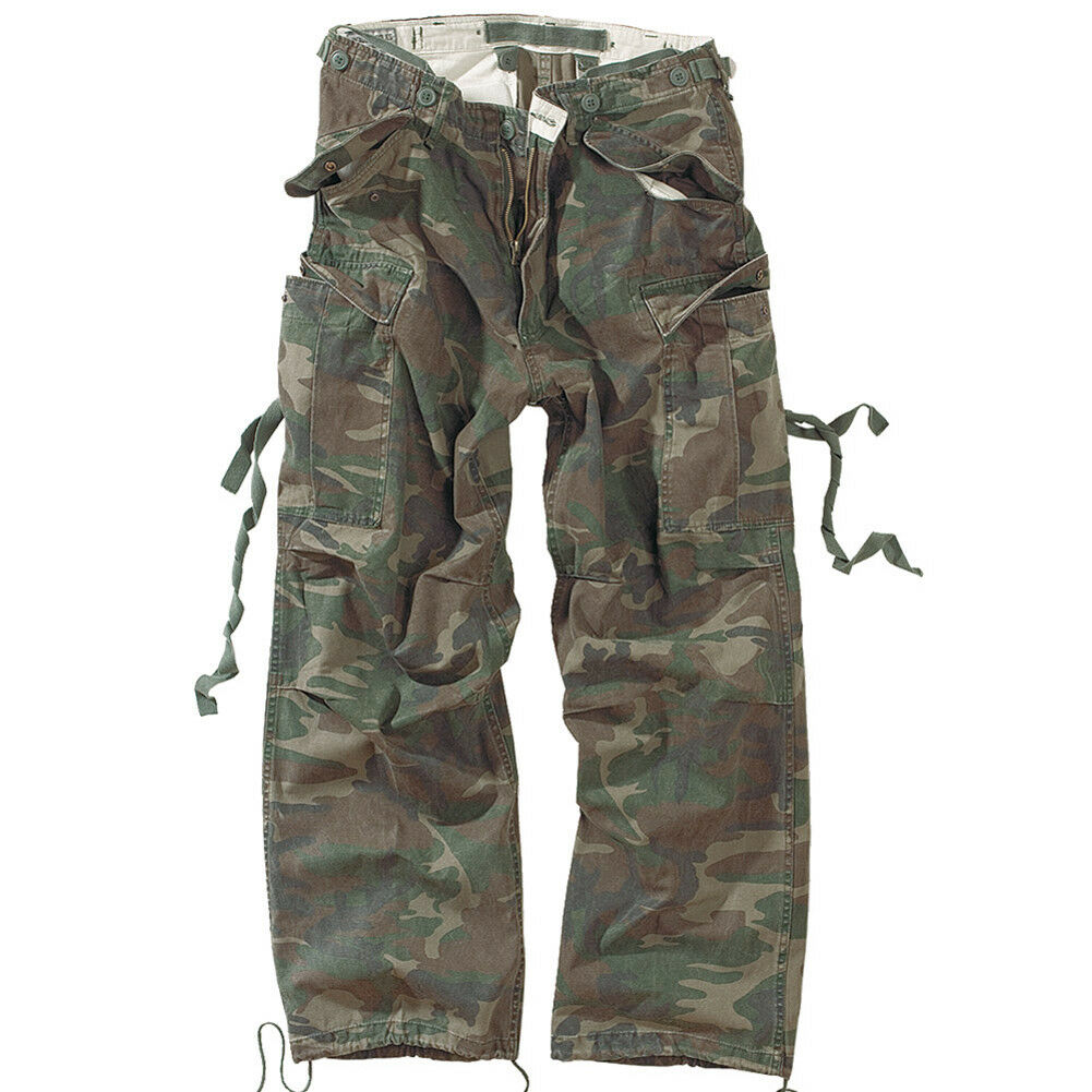 SURPLUS COMBAT CARGO TROUSERS ARMY WORK VINTAGE PANTS US WOODLAND CAMOUFLAGE