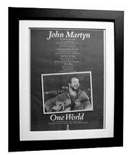 JOHN MARTYN+One World+POSTER+AD+FRAMED+RARE ORIGINAL 1977+EXPRESS GLOBAL SHIP