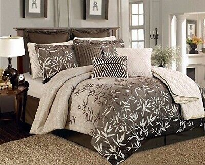 12PC King Size Taupe Primrose Luxury Bedding Comforter Set Bed in